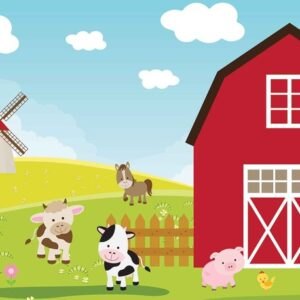 Posters Fototapeta Farm Cartoon Boys Bedroom 254x184 cm - 115g/m2 Paper - Posters