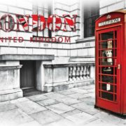Posters Fototapeta City London Telephone Box Red 254x184 cm - 115g/m2 Paper - Posters