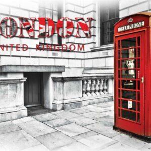Posters Fototapeta City London Telephone Box Red 254x184 cm - 115g/m2 Paper - Posters