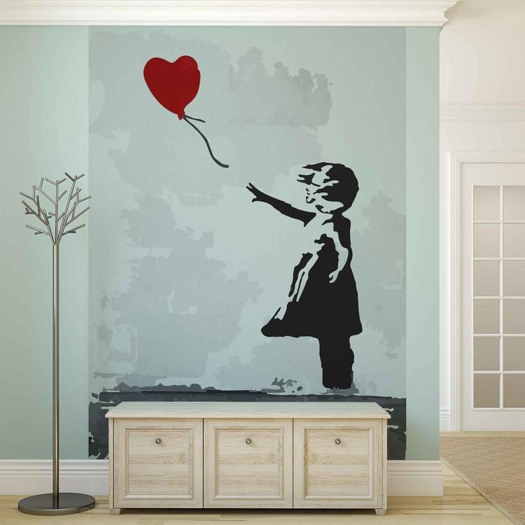 Posters Fototapeta Banksy Street Art Balloon Heart Graffiti 184x254 cm - 115g/m2 Paper - Posters