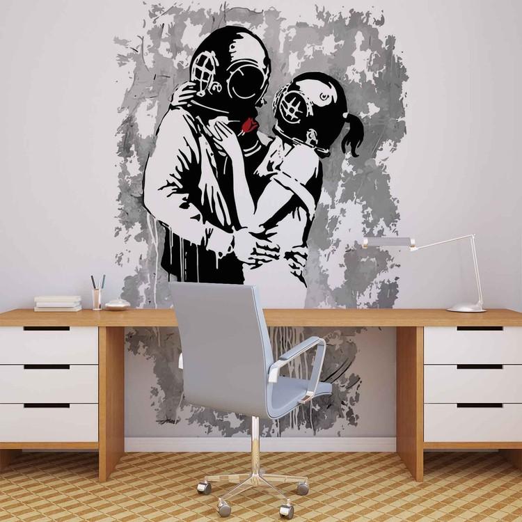Posters Fototapeta Banksy Graffiti 206x275 cm - 130g/m2 Vlies Non-Woven - Posters