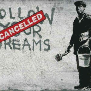 Posters Fototapeta Banksy Graffiti Concrete Wall 254x184 cm - 115g/m2 Paper - Posters