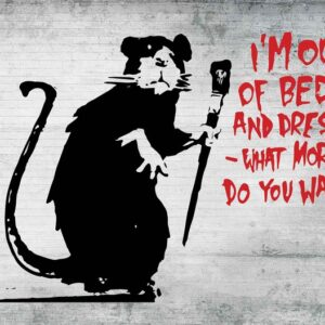 Posters Fototapeta Banksy Graffiti Rat Concrete Wall 254x184 cm - 115g/m2 Paper - Posters