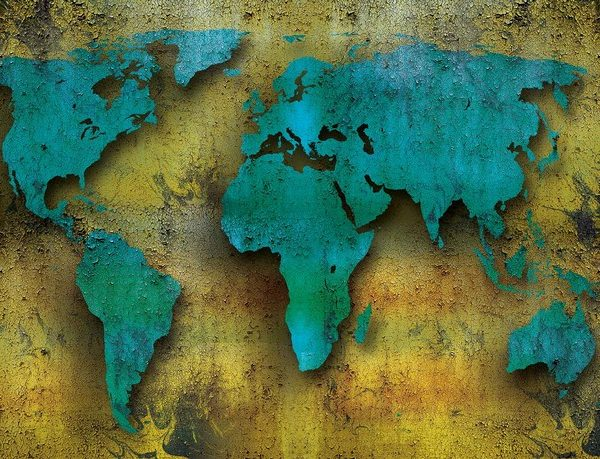 Posters Fototapeta World Map On Wood 254x184 cm - 115g/m2 Paper - Posters