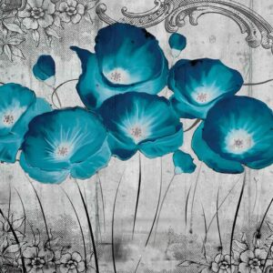 Posters Fototapeta Vintage Flowers Blue Grey 254x184 cm - 115g/m2 Paper - Posters