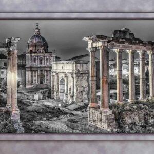 Posters Fototapeta Rome City Ruins Window View 254x184 cm - 115g/m2 Paper - Posters