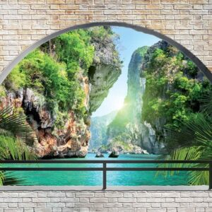 Posters Fototapeta Tropical Arch View 254x184 cm - 115g/m2 Paper - Posters