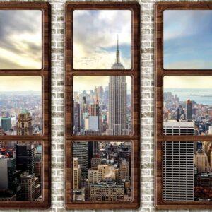 Posters Fototapeta New York City Skyline Window View 152.5x104 cm - 130g/m2 Vlies Non-Woven - Posters