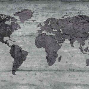Posters Fototapeta World Map Concrete Texture 254x184 cm - 115g/m2 Paper - Posters