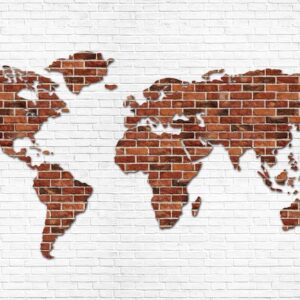 Posters Fototapeta Brick Wall World Map 254x184 cm - 115g/m2 Paper - Posters