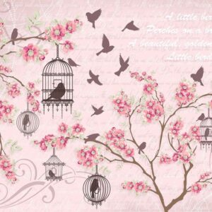 Posters Fototapeta Birds Cherry Blossom Pink 152.5x104 cm - 130g/m2 Vlies Non-Woven - Posters