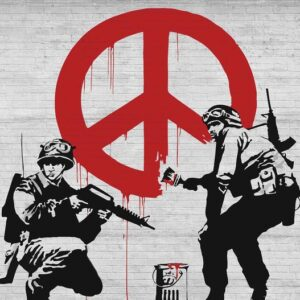 Posters Fototapeta Banksy Graffiti 254x184 cm - 115g/m2 Paper - Posters