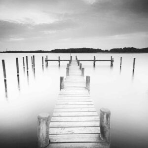 Posters Fototapeta Nature Water Lake Jetty Black White 254x184 cm - 115g/m2 Paper - Posters