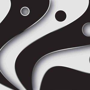 Posters Fototapeta Abstract Modern Pattern Black White 254x184 cm - 115g/m2 Paper - Posters