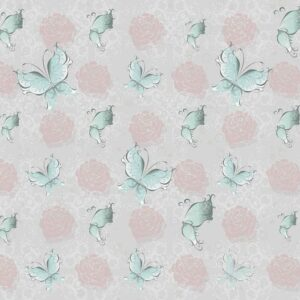 Posters Fototapeta Butterlies and Roses Pattern 254x184 cm - 115g/m2 Paper - Posters