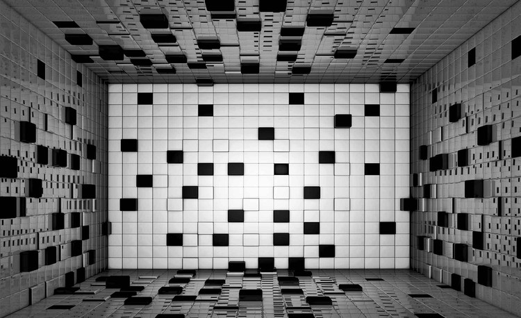 Posters Fototapeta Modern Abstract Squares Black White 254x184 cm - 115g/m2 Paper - Posters