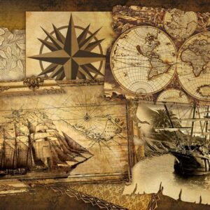 Posters Fototapeta Vintage Ships and Maps 254x184 cm - 115g/m2 Paper - Posters