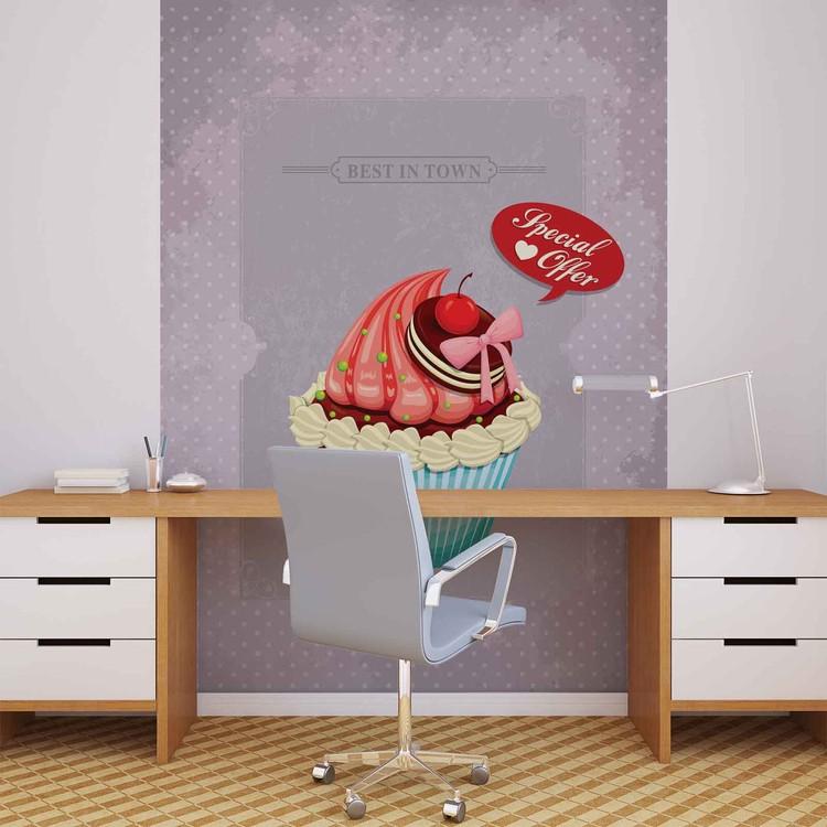 Posters Fototapeta Cupcake Vintage Retro 206x275 cm - 130g/m2 Vlies Non-Woven - Posters
