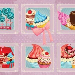Posters Fototapeta Cupcakes Pink Retro 254x184 cm - 115g/m2 Paper - Posters
