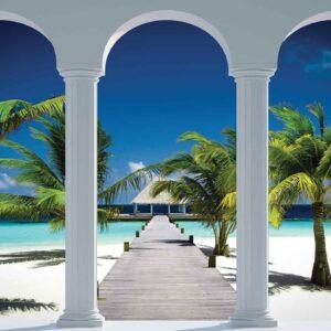 Posters Fototapeta Beach Tropical Paradise Arches 368x254 cm - 115g/m2 Paper - Posters