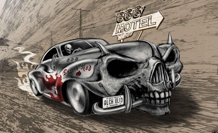 Posters Fototapeta Alchemy Death Hot Rod Car Skull 254x184 cm - 115g/m2 Paper - Posters