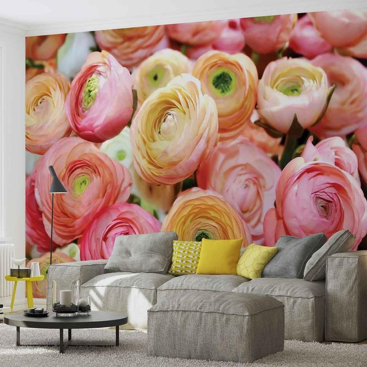 Posters Fototapeta Flowers Peonies Colours 250x104 cm - 130g/m2 Vlies Non-Woven - Posters