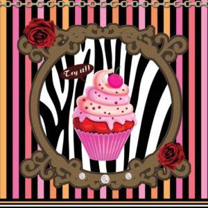 Posters Fototapeta Cupcake Stripes 206x275 cm - 130g/m2 Vlies Non-Woven - Posters