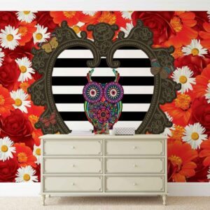 Posters Fototapeta Floral Heart Owl Red 206x275 cm - 130g/m2 Vlies Non-Woven - Posters