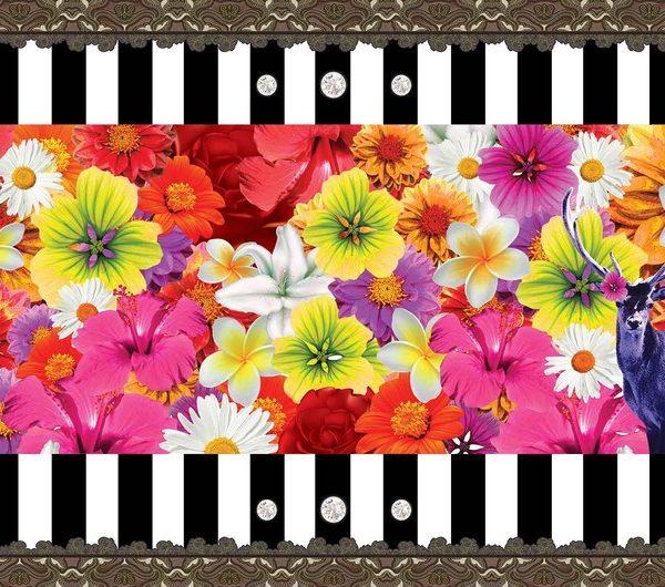 Posters Fototapeta Floral Stripes 206x275 cm - 130g/m2 Vlies Non-Woven - Posters
