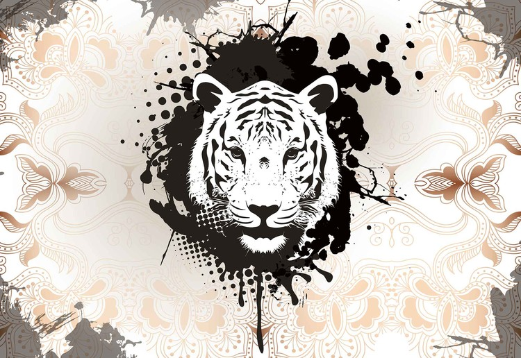 Posters Fototapeta Tiger Abstract 206x275 cm - 130g/m2 Vlies Non-Woven - Posters