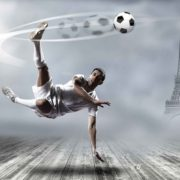 Posters Fototapeta Football Player Paris 254x184 cm - 115g/m2 Paper - Posters