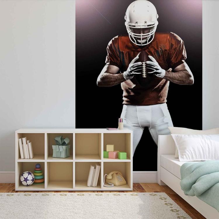 Posters Fototapeta American Football Player 206x275 cm - 130g/m2 Vlies Non-Woven - Posters