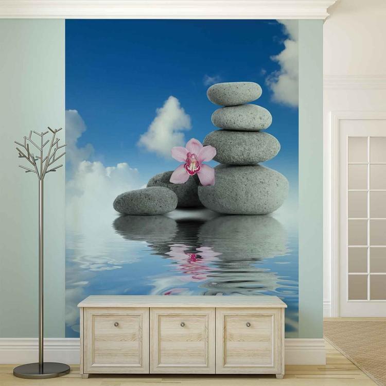 Posters Fototapeta Zen Water Stones Orchid Sky 206x275 cm - 130g/m2 Vlies Non-Woven - Posters