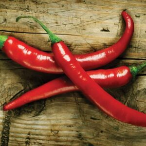 Posters Fototapeta Hot Chillies Food Wood 254x184 cm - 115g/m2 Paper - Posters