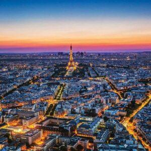 Posters Fototapeta City Paris Sunset Eiffel Tower 368x254 cm - 115g/m2 Paper - Posters