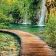 Posters Fototapeta Path Sea Mountains Waterfall Forest 254x184 cm - 115g/m2 Paper - Posters