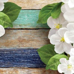 Posters Fototapeta Wood Fence Flowers 254x184 cm - 115g/m2 Paper - Posters