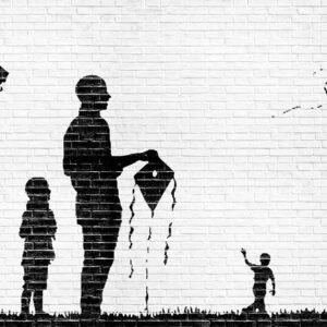 Posters Fototapeta Brick Wall Kites Kids Black White 254x184 cm - 115g/m2 Paper - Posters