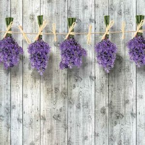 Posters Fototapeta Wooden Wall Flowers Lavender 254x184 cm - 115g/m2 Paper - Posters