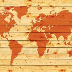 Posters Fototapeta World Map Wood Planks 254x184 cm - 115g/m2 Paper - Posters