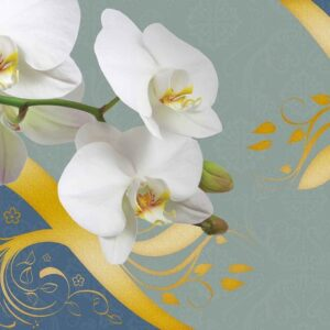 Posters Fototapeta Pattern Flowers Orchids Abstract 254x184 cm - 115g/m2 Paper - Posters