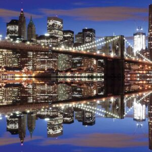 Posters Fototapeta New York Brooklyn Bridge Night 368x254 cm - 115g/m2 Paper - Posters