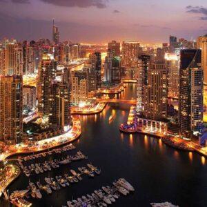 Posters Fototapeta City Dubai Marina Skyline 254x184 cm - 115g/m2 Paper - Posters