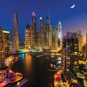 Posters Fototapeta City Dubai Skyscraper Night 416x254 cm - 130g/m2 Vlies Non-Woven - Posters