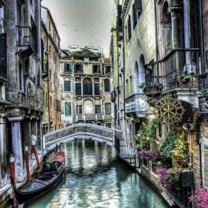 Posters Fototapeta City Venice Canal Bridge Art 254x184 cm - 115g/m2 Paper - Posters