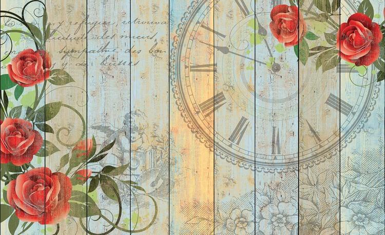 Posters Fototapeta Roses Clock Wood Planks Vintage 152.5x104 cm - 130g/m2 Vlies Non-Woven - Posters