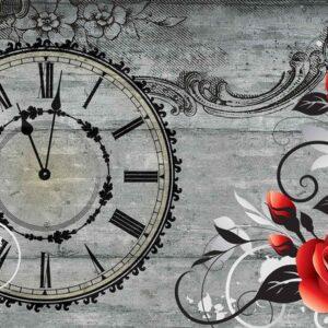 Posters Fototapeta Roses Clock Wood Planks Vintage 254x184 cm - 115g/m2 Paper - Posters