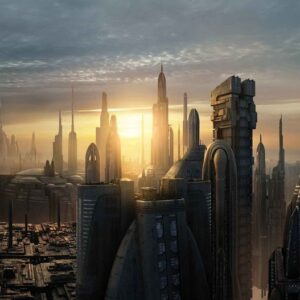 Posters Fototapeta Star Wars City Coruscant 254x184 cm - 115g/m2 Paper - Posters