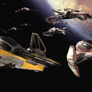 Posters Fototapeta Star Wars Anakin Jedi Starfighter 416x254 cm - 130g/m2 Vlies Non-Woven - Posters