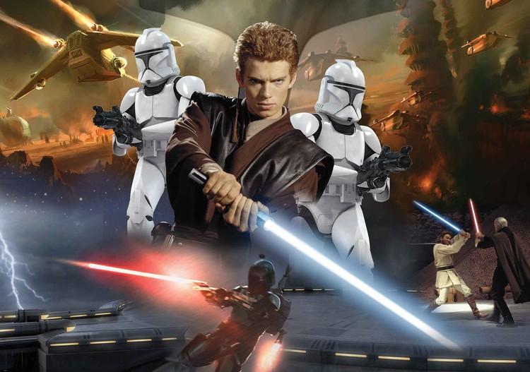Posters Fototapeta Star Wars Attack Clones Anakin Skywalker 368x254 cm - 115g/m2 Paper - Posters
